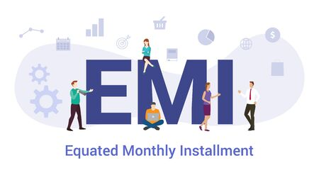 emi equated monthly installment concept with big word or text and team people with modern flat style - vector illustration Vector Illustration