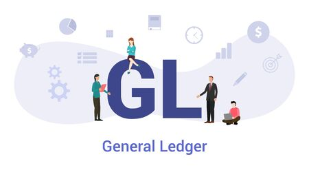 gl general ledger concept with big word or text and team people with modern flat style - vector illustration