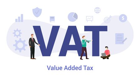 vat value added tax concept with big word or text and team people with modern flat style - vector illustration Ilustração