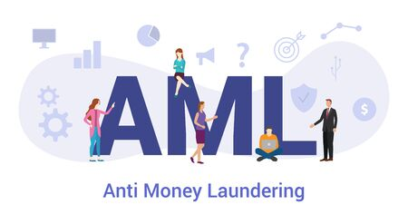 aml anti money laundering concept with big word or text and team people with modern flat style - vector illustration