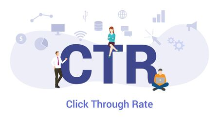 ctr click through rate concept with big word or text and team people with modern flat style - vector illustration