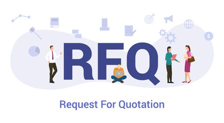 rfq request for proposal concept with big word or text and team people with modern flat style - vector illustration