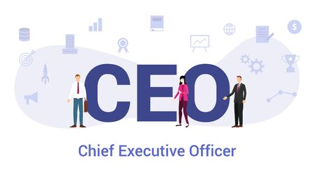 ceo chief executive officer concept with big word or text and team people with modern flat style - vector illustration