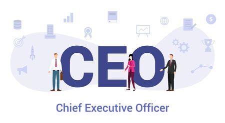 concept de chef de la direction de chef de la direction avec un grand mot ou un texte et des gens d'équipe avec un style plat moderne - illustration vectorielle