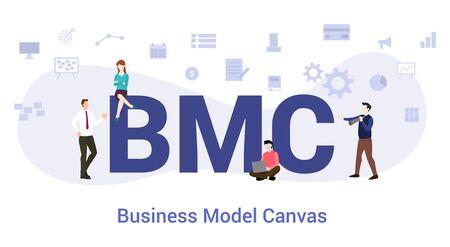 Concepto de lienzo de modelo de negocio bmc con gran palabra o texto y personas del equipo con estilo plano moderno - ilustración vectorial Ilustración de vector