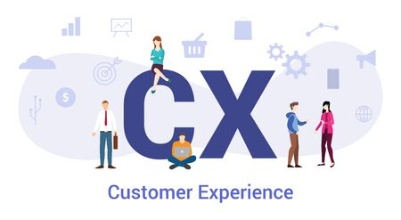 cx customer experience concept with big word or text and team people with modern flat style - vector illustration
