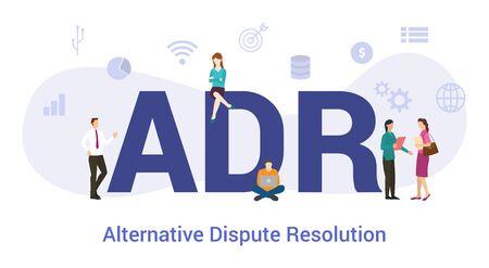 concept de résolution alternative des différends adr avec un grand mot ou un texte et des personnes de l'équipe avec un style plat moderne - illustration vectorielle
