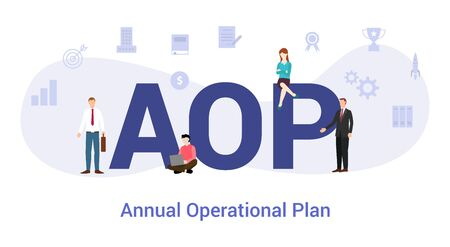 aop annual operational plan concept with big word or text and team people with modern flat style - vector illustration