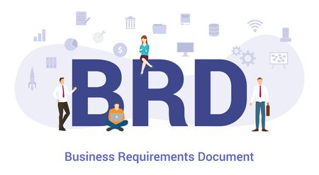 brd business requirements document concept with big word or text and team people with modern flat style - vector illustration Illustration