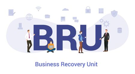 bru business recovery unit concept with big word or text and team people with modern flat style - vector illustration