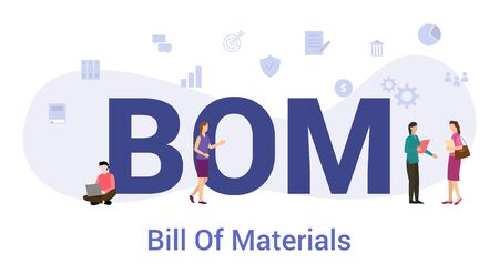 bom bill of materials concept with big word or text and team people with modern flat style - vector illustyration