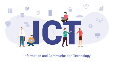 ict information and communication technology concept with big word or text and team people with modern flat style - vector illustration
