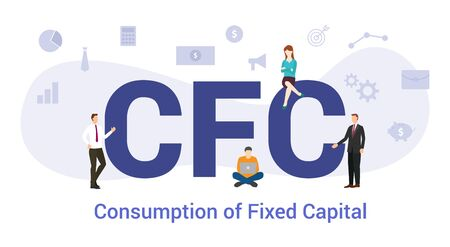 cfc consumption of fixed capital concept with big word or text and team people with modern flat style - vector illustration Stock Vector - 131995884