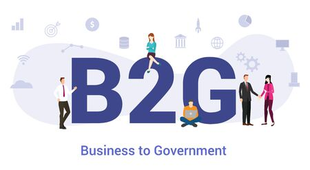 b2g business to government concept with big word or text and team people with modern flat style - vector illustration