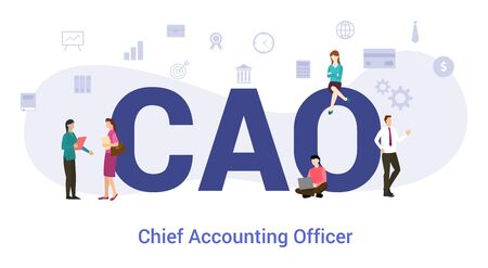 cao chief accounting officer concept with big word or text and team people with modern flat style - vector illustration Illustration