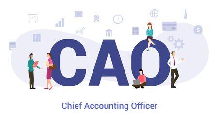 concept de chef de la comptabilité cao avec un grand mot ou un texte et des gens d'équipe avec un style plat moderne - illustration vectorielle Vecteurs