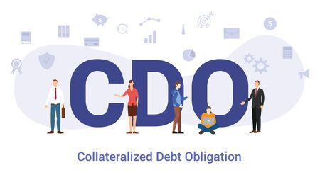 cdo collateralized debt obligation concept with big word or text and team people with modern flat style - vector illustration