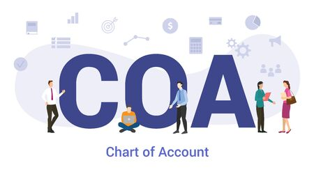 coa chart of account concept with big word or text and team people with modern flat style - vector illustration Illusztráció