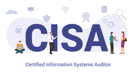 cisa certified information systems auditor concept with big word or text and team people with modern flat style - vector illustration 向量圖像