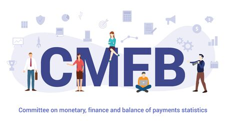 cmfb commitee on monetary finance and balance of payments statistics concept with big word or text and team people with modern flat style - vector illustration