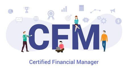 cfm certified financial manager concept with big word or text and team people with modern flat style - vector illustration