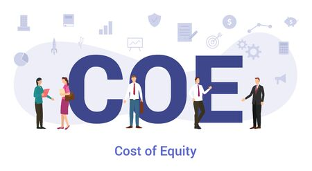 coe cost of equity concept with big word or text and team people with modern flat style - vector illustration