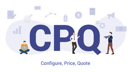 cpq configure price quote concept with big word or text and team people with modern flat style - vector illustration