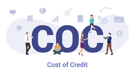 coc cost of credit concept with big word or text and team people with modern flat style - vector illustration Иллюстрация