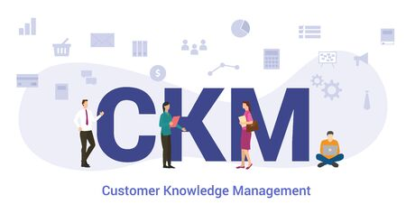 ckm customer knowledge management concept with big word or text and team people with modern flat style - vector illustration