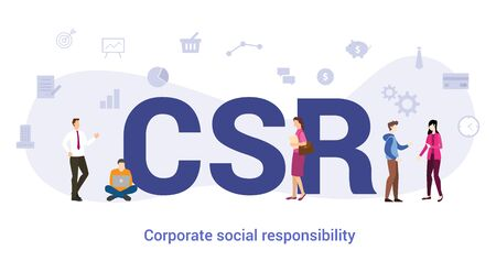 csr corporate social responsibility concept with big word or text and team people with modern flat style - vector illustration