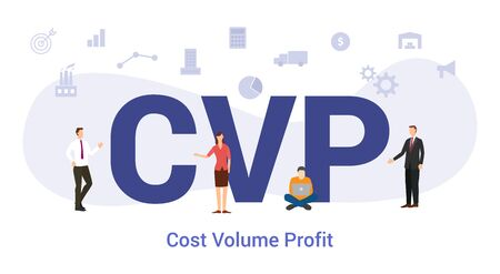 cvp cost volume profit concept with big word or text and team people with modern flat style - vector illustration Illustration