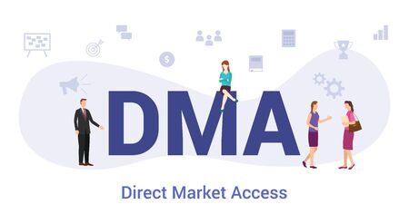 dma direct market access concept with big word or text and team people with modern flat style - vector illustration