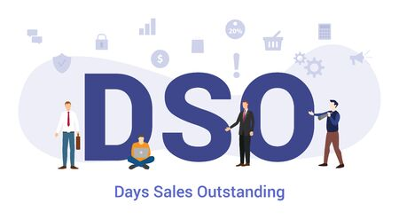 dso days sales outstanding concept with big word or text and team people with modern flat style - vector illustration