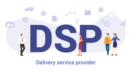 dsp delivery service provider concept with big word or text and team people with modern flat style - vector illustration