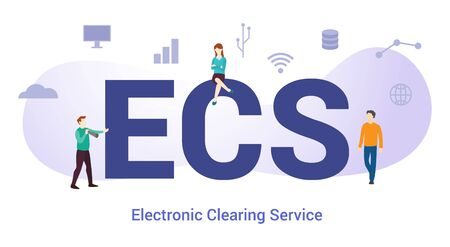 ecs electronic clearning service concept with big word or text and team people with modern flat style - vector illustration
