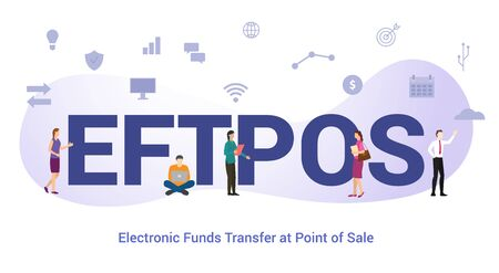 eftpos electronic funds transfer at point of sale concept with big word or text and team people with modern flat style - vector illustration