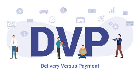 dvp delivery versus payment concept with big word or text and team people with modern flat style - vector illustration Ilustração