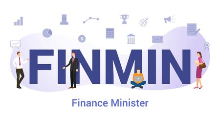 finmin financial or finance minister concept with big word or text and team people with modern flat style - vector