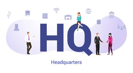 hq headquarters concept with big word or text and team people with modern flat style - vector illustration 일러스트
