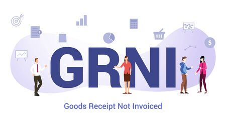 grni goods receipt not invoiced concept with big word or text and team people with modern flat style - vector illustration