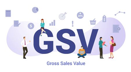 gsv global value chain concept with big word or text and team people with modern flat style - vector illustration 向量圖像