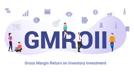 gmroii gross margin return on inventory investment concept with big word or text and team people with modern flat style - vector illustration