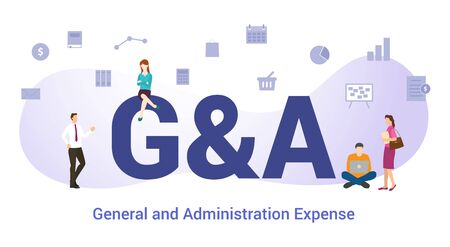 g&a general and administration expense concept with big word or text and team people with modern flat style - vector illustration Vettoriali