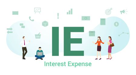 ie interest expense concept with big word or text and team people with modern flat style - vector illustration