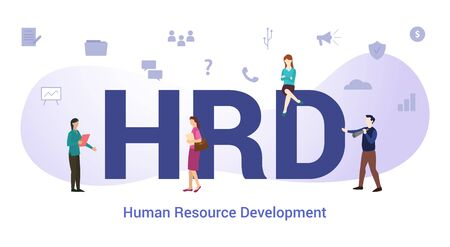 hrd human resource development concept with big word or text and team people with modern flat style - vector illustration