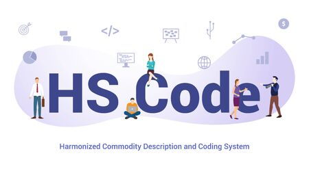 hs code harmonized commodity description and coding system concept with big word or text and team people with modern flat style - vector illustration