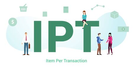 ipt item per transaction concept with big word or text and team people with modern flat style - vector