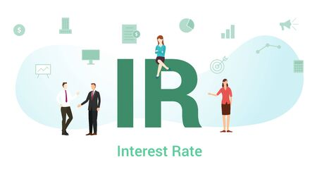 ir interest rate concept with big word or text and team people with modern flat style - vector