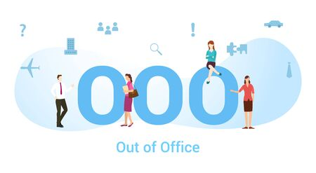 ooo out of office concept with big word or text and team people with modern flat style - vector illustration Vectores