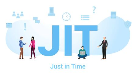 jit just in time concept with big word or text and team people with modern flat style - vector illustration